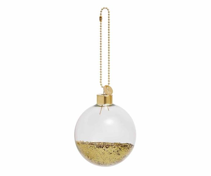 "'Glitter Glass' bauble, $9.95, [Kikki.K](https://www.kikki-k.com/au/home target=""_Blank"" rel=""nofollow"")."