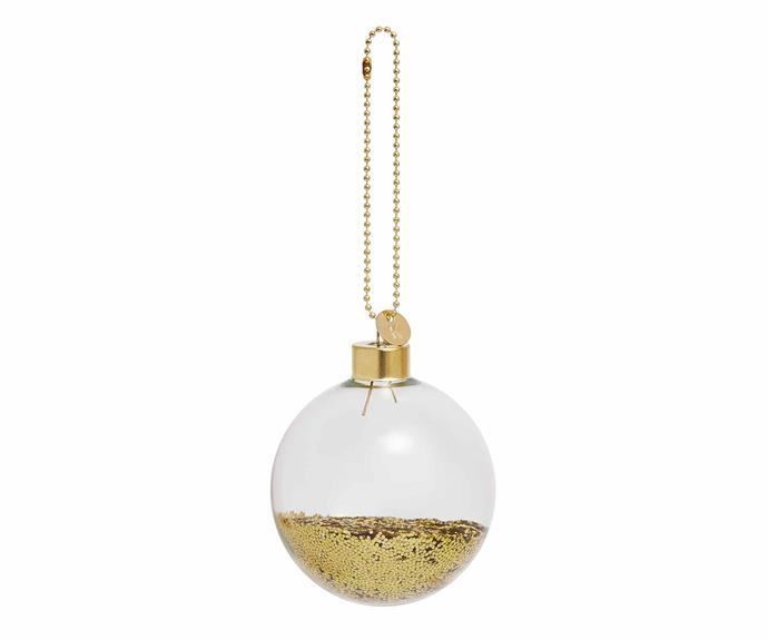 "'Glitter Glass' bauble, $9.95, [Kikki.K](https://www.kikki-k.com/au/home|target=""_Blank""|rel=""nofollow"")."