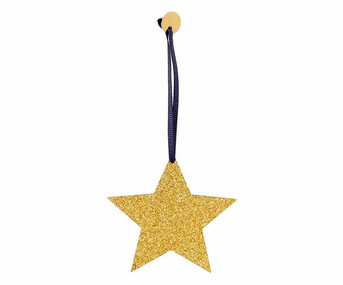 """'Glitter Star' ornament, $4.95, [Kikki.K](https://www.kikki-k.com/au/home target=""""_Blank"""" rel=""""nofollow"""")."""