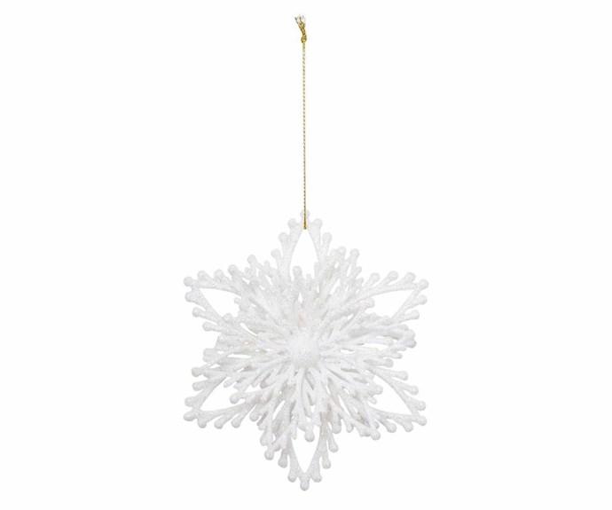 "'Luxe White Glitter Snowflake' ornament, $4.99, [Myer](https://www.myer.com.au/ target=""_blank"" rel=""nofollow"")."