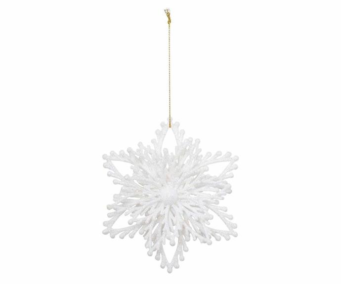 "'Luxe White Glitter Snowflake' ornament, $4.99, [Myer](https://www.myer.com.au/|target=""_blank""