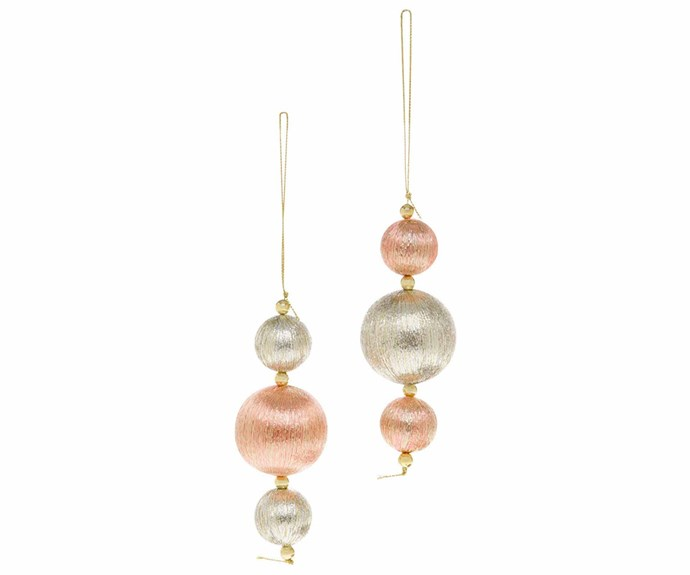 "'Luxe 3 Ball Drop' ornament in Rose Gold, $4.99, [Myer](https://www.myer.com.au/|target=""_blank""
