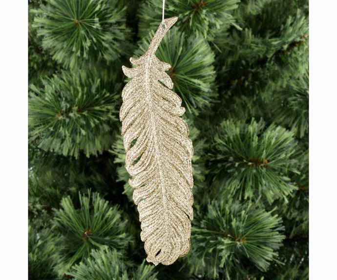 """Gold feather ornament, $2, [Big W](https://www.bigw.com.au/ Target=""""_blank"""" rel=""""nofollow"""")."""