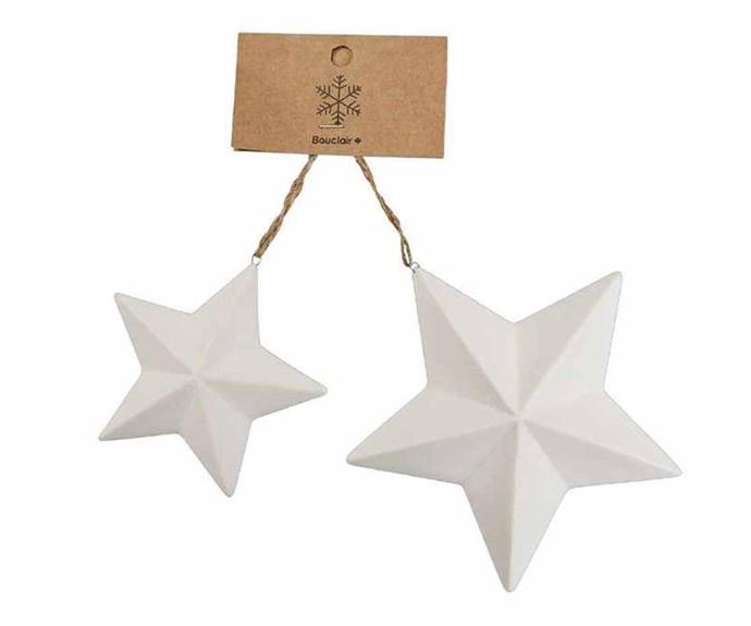 "Bouclair 'Shimmer' porcelain stars, $12.99/set of 2, [Spotlight](https://www.spotlightstores.com/ target=""_blank"" rel=""nofollow"")."