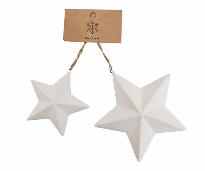 "Bouclair 'Shimmer' porcelain stars, $12.99/set of 2, [Spotlight](https://www.spotlightstores.com/|target=""_blank""|rel=""nofollow"")."