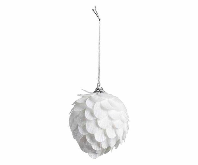"Bouclair 'Shimmer' snowball ornament, $4.99, [Spotlight](https://www.spotlightstores.com/ target=""_blank"" rel=""nofollow"")."