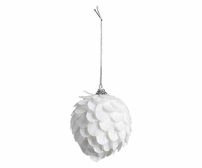 "Bouclair 'Shimmer' snowball ornament, $4.99, [Spotlight](https://www.spotlightstores.com/|target=""_blank""|rel=""nofollow"")."