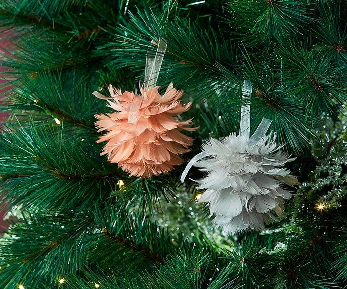"'Glisten Feather Ball' ornament in Blush, $7.95, [Bed Bath N' Table](https://www.bedbathntable.com.au/|target=""_blank""