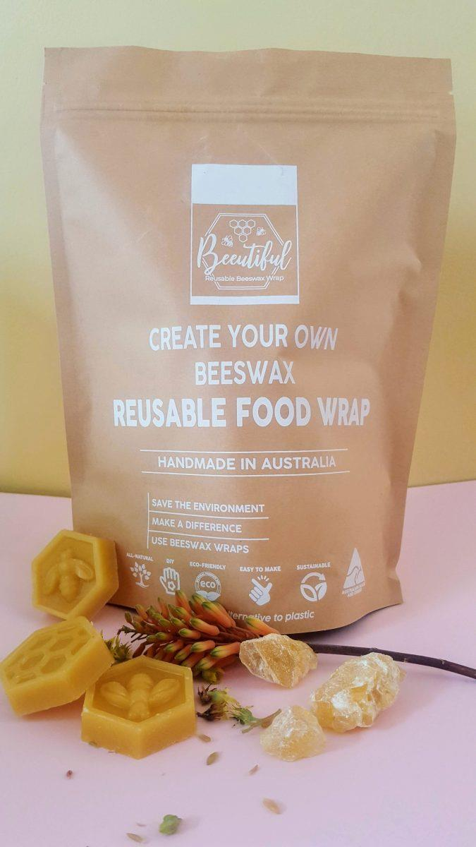 """Make your own **beeswax wraps kit**, from $11.95, at [Beeutiful](https://beeutiful.com.au/product/beeswax-wraps-diy-kit/ target=""""_blank"""" rel=""""nofollow"""")."""