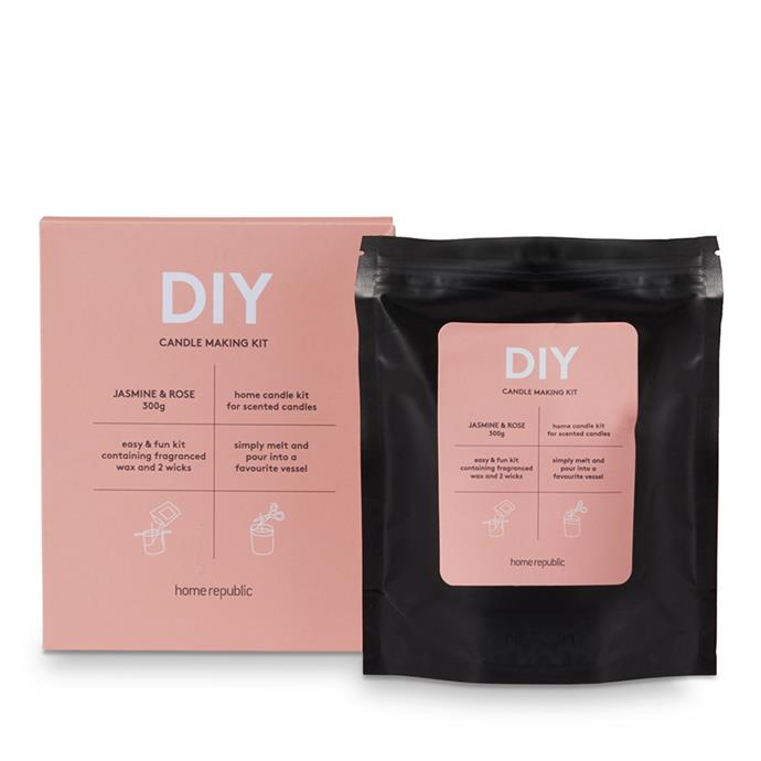 """Home Republic, DIY **candle making kit** in Jasmine Rose, $19.99, from [Adairs](https://fave.co/2Q8XCsU target=""""_blank"""" rel=""""nofollow"""")."""