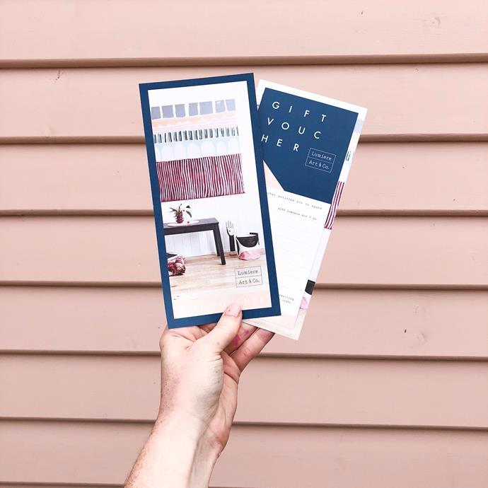 "**Gift voucher** for a workshop at [Lumiere & Co.](https://lumiereartandco.com.au/shop/workshops/workshop-gift-voucher/ target=""_blank"" rel=""nofollow""), $290."