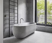 A natural stone bathroom with minimalist style