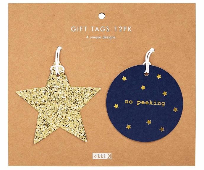 "'Gold star' gift tag, $12.95/set of 12, [Kikki.K](https://www.kikki-k.com/au/home|target=""_Blank""|rel=""nofollow"")."