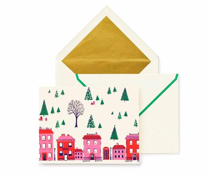 "Kate Spade 'Holiday Village' card, $49.95/set of 10, [Mr & Mrs Jones](https://www.mrandmrsjones.com.au/|target=""_blank""|rel=""nofollow"")."