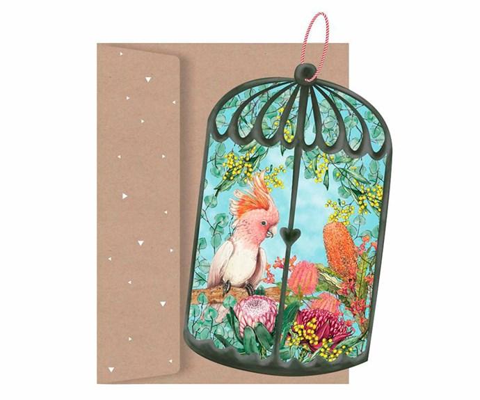 "Lilly Perrot 'Botanical Aviary' gift tag, $4.95, [La La Land](https://lalalandshop.com.au/|target=""_blank""|rel=""nofollow"")."
