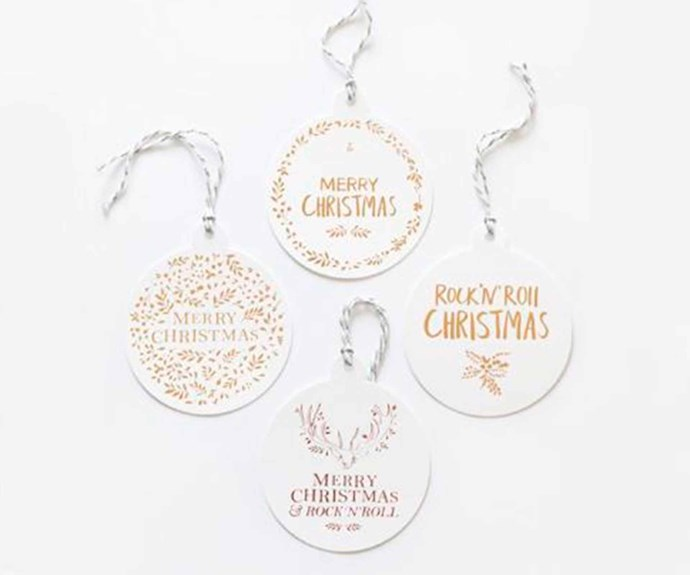"""'Christmas Baubles Merry Christmas' tag, $12/set of 4, [The Adventures Of](https://theadventuresof.co/