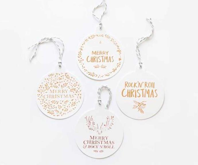 "'Christmas Baubles Merry Christmas' tag, $12/set of 4, [The Adventures Of](https://theadventuresof.co/|target=""_blank""
