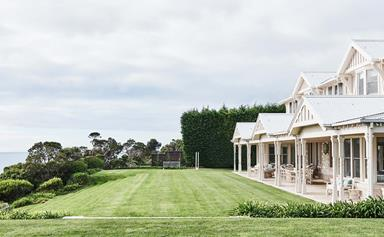 A clifftop beach house with a Hamptons style interior