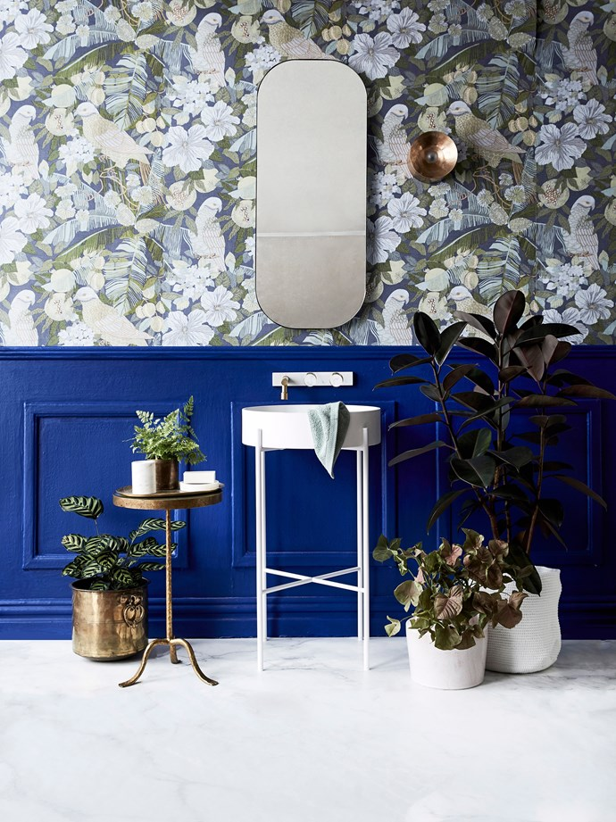 A mirrored bathroom cabinet will help keep clutter at bay. Indoor plants are an easy way to add personality to a drab and dull bathroom. *Photo: Kristina Soljo / bauersyndication.com.au*