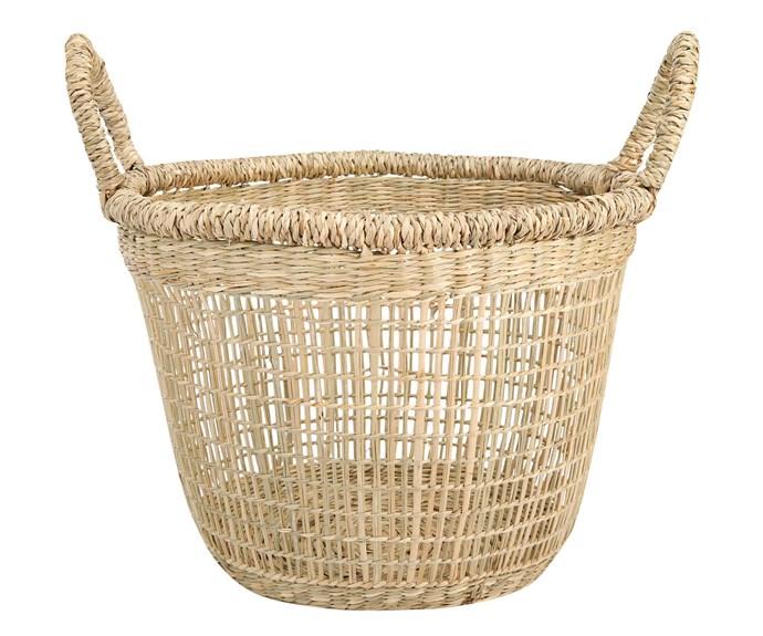"Seagrass low basket, $9, [Kmart](https://www.kmart.com.au/|target=""_blank""|rel=""nofollow"")."
