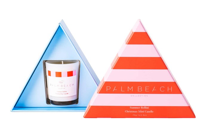"'Summer Bellini' Christmas mini candle, $16.95, [Palm Beach Collection](https://palmbeachcollection.com.au/|target=""_blank""