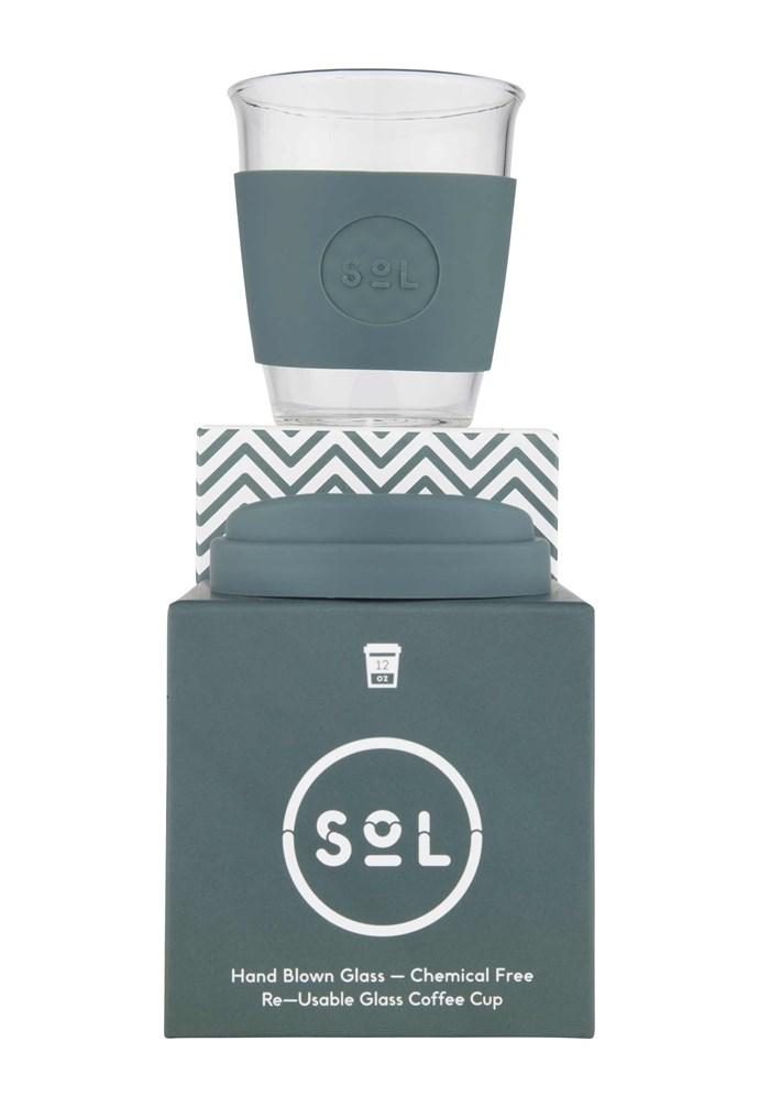 "Reusable cup in Deep Sea Green, $29.99, [Sol Cups](https://solcups.com/|target=""_blank""|rel=""nofollow"")."