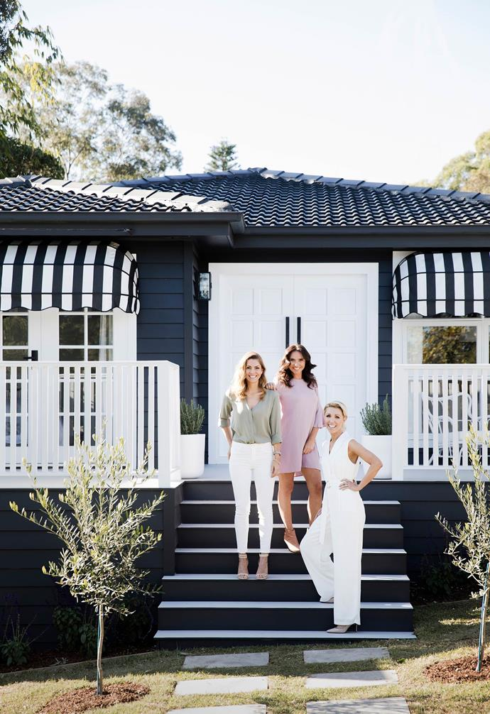 **#kerbappeal** The renovation included a dramatic update of the home's exterior. Here, Erin Cayless, Bonnie Hindmarsh and Lana Taylor welcome us inside the home.