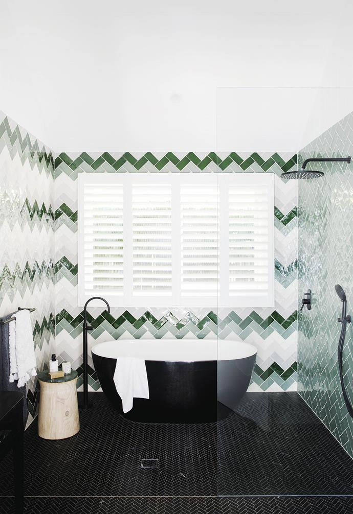 "**#personalityplus** The main bathroom features green, grey and white tiles from [Tile Cloud](https://tilecloud.com.au/|target=""_blank""