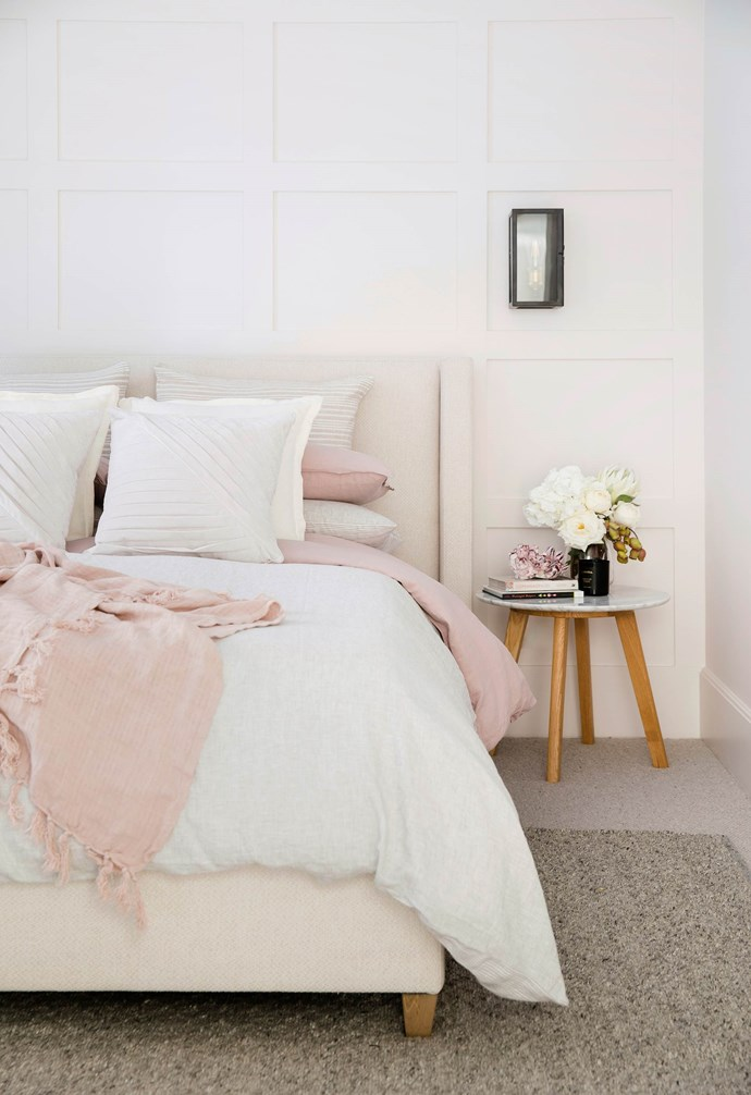 """**#prettyinpastel** A blush palette in the bedroom warms up the home, and a subtle detail in the wall adds depth to the room. Furniture and bedding is from [Freedom](https://www.freedom.com.au/