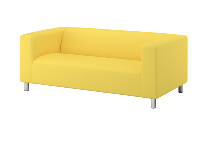 """'Klippan' two-seat **sofa** in vissle yellow, was $199, now $99, from [IKEA](https://fave.co/2Am72r8