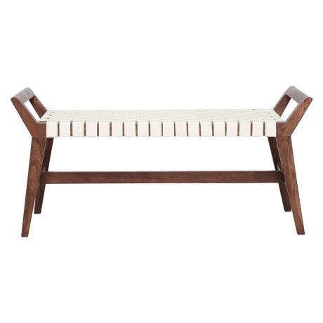 """'Otto' bed end **bench** with woven leather in natural and white, was $599, now $399, from [Freedom](https://fave.co/2AwnIMP
