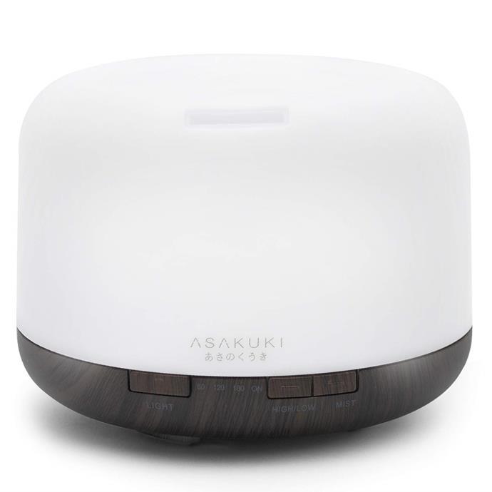 "'Asakuki' 500mL essential oil **diffuser**, on sale at $38.99, from [Amazon](https://www.amazon.com.au/ASAKUKI-Essential-Ultrasonic-Aromatherapy-Humidifier/dp/B077X9W55D/ref=sr_1_2?ie=UTF8&qid=1543199602&sr=8-2&keywords=asakuki|target=""_blank""|rel=""nofollow"")."