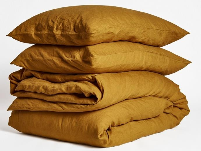 """Ultra luxurious 100% pure French linen **quilt cover** in mustard, was $325 for king size, now $260 (using the code FLASH20) from [I Love Linen](https://www.ilovelinen.com.au/ultra-luxurious-100-pure-french-linen-quilt-mustard