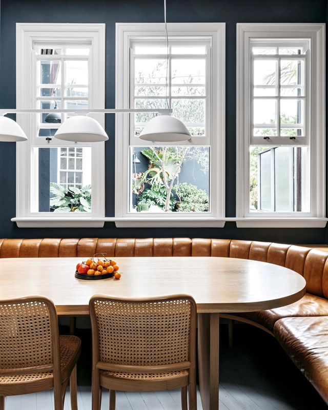 "A bespoke curved banquette, in 'Verona' leather in Nutmeg from [Instyle](https://www.instyle.com.au/|target=""_blank""
