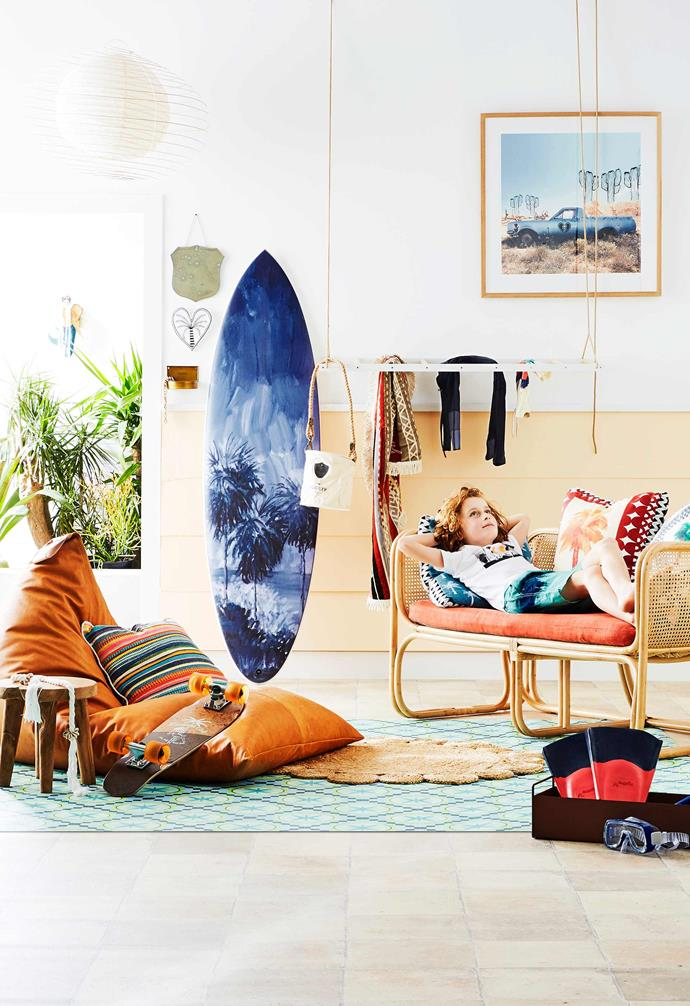 **Easy breezy** Summertime calls for a chill-out zone with a retro-cool California beach vibe. *Styling by Jono Fleming with assistance by Nonci Nyoni | Photography: Nic Gossage*.