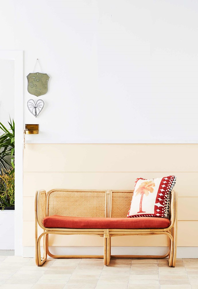 """**Lounge about** Natural rattan with a tropical cushion creates a holiday feel perfect for daydreaming. 'Latitude' two-seater, $1095, [The Family Love Tree](https://www.thefamilylovetree.com.au/