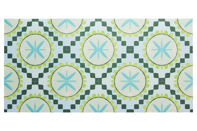 """**Tactile texture** This colourful rug in blue and green is ideal for wet or sandy feet. 'Cuban Green' vinyl rug, $1650/244cm x 305cm, [Bonnie and Neil](http://www.bonnieandneil.com.au/