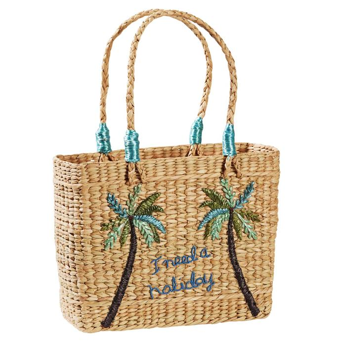 """'Summertime' palm embroidered grass **basket** with handles, $169, from [Canvas + Sasson](http://store.canvasandsasson.com.au/summertime-palm-basket