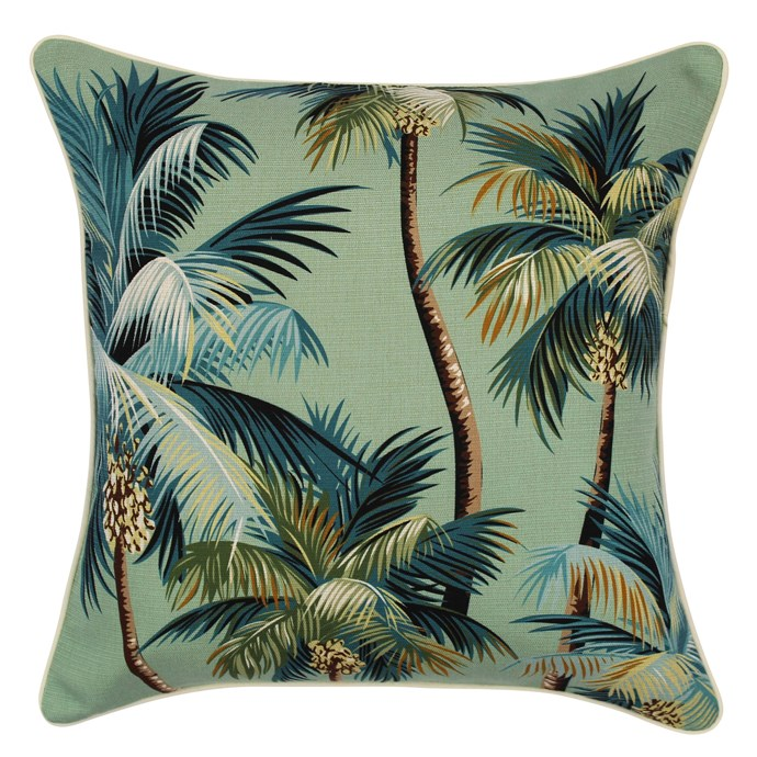 "Escape to paradise 'Heaven Palm Trees' **outdoor cushion** in lagoon, $63.95, from [Zanui](https://fave.co/2QqDd2A|target=""_blank""