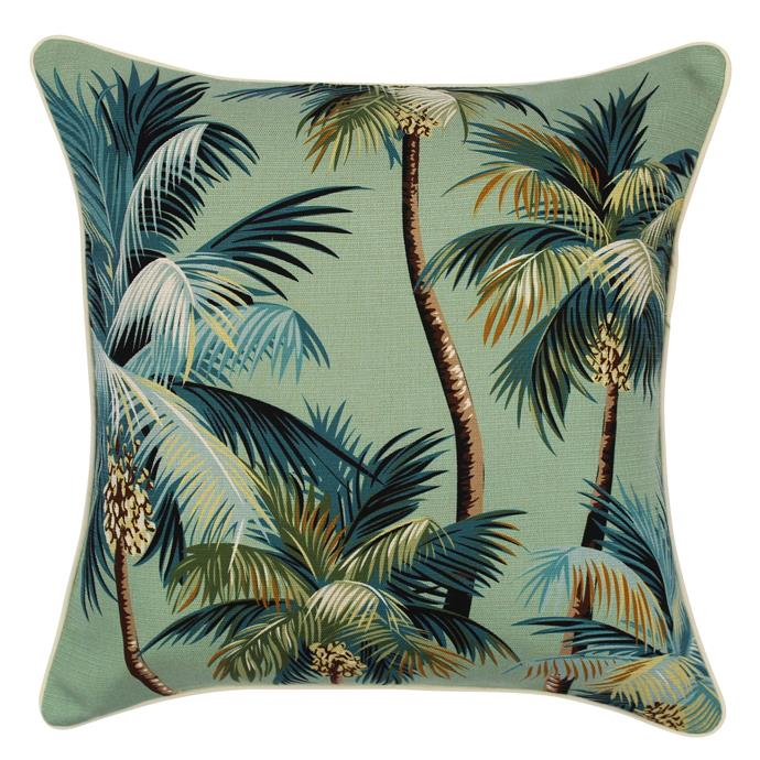 """Escape to paradise 'Heaven Palm Trees' **outdoor cushion** in lagoon, $63.95, from [Zanui](https://fave.co/2QqDd2A