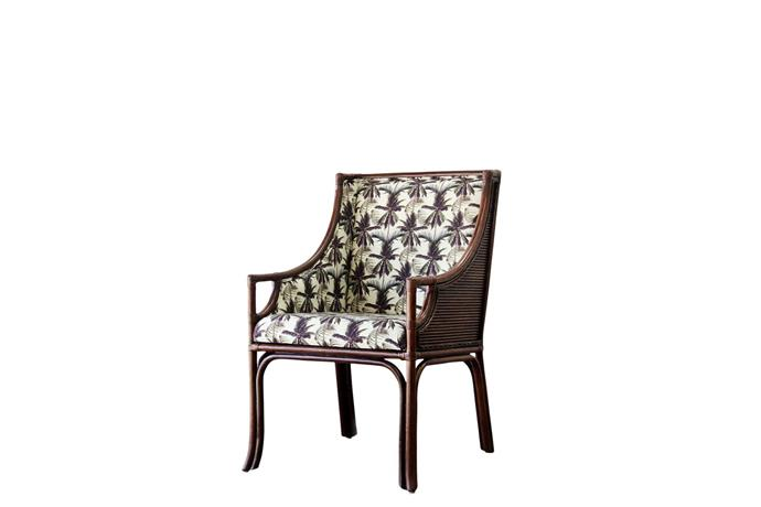 """'Linear' carver **chair** in rattan with palms fabric, $1099, from [Lincoln Brooks](https://www.lincolnbrooks.com.au/shop/dining/linear-carver-5/