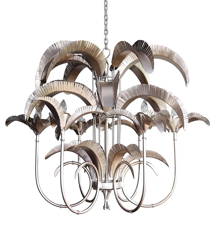 "'Cayman Island' **chandelier** in pewter, $3520, from [Gypset Cargo](https://gypsetcargo.com/product/cayman-island-palm-chandelier-large/|target=""_blank""