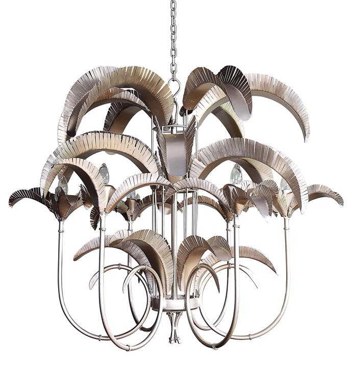 """'Cayman Island' **chandelier** in pewter, $3520, from [Gypset Cargo](https://gypsetcargo.com/product/cayman-island-palm-chandelier-large/