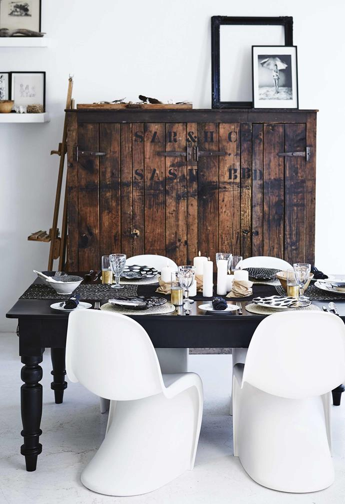 """**Setting the table** Shelley's dining area shows how a [monochromatic interior](https://www.homestolove.com.au/11-style-ideas-from-a-monochrome-apartment-18693