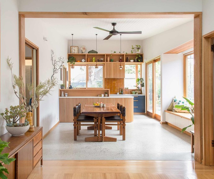 "**Woodwork** The terrazzo flooring is restricted to the kitchen and dining space, with timber flooring throughout the rest of the home. A timber sideboard here plays host to ample indoor plants. *Project: [Brave New Eco](http://www.braveneweco.com.au/|target=""_blank""