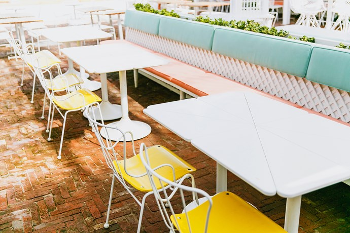 Classic, yellow 1950s Antelope chairs reference Shoal Bay Country Club's vibrant history.