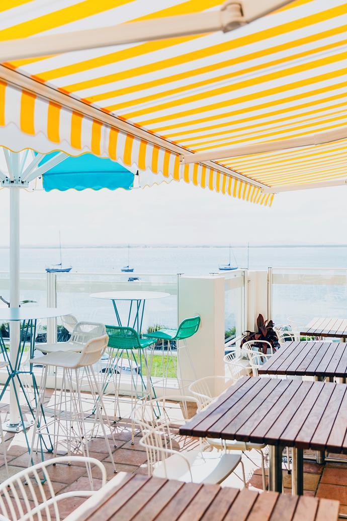 The outdoor courtyard enjoys sweeping ocean views.