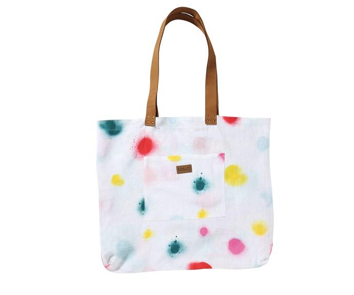 "Sprayed Carnival linen bag, $99, from [Kip&Co.](https://kipandco.com.au/|target=""_blank""|rel=""nofollow"")"