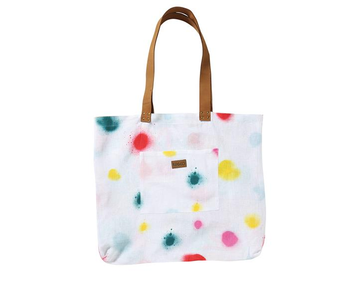 "Sprayed Carnival linen bag, $99, from [Kip&Co.](https://kipandco.com.au/|target=""_blank""