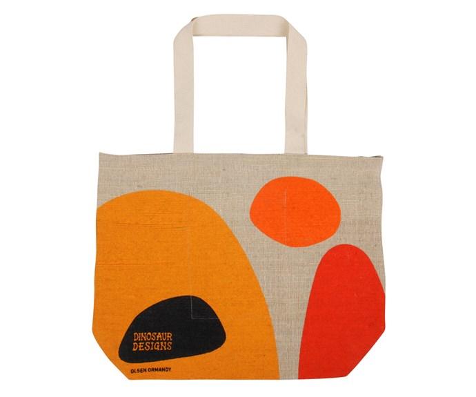 "Hessian bag in Warms, $45, from [Dinosaur Designs](https://www.dinosaurdesigns.com.au/|target=""_blank""|rel=""nofollow"")."